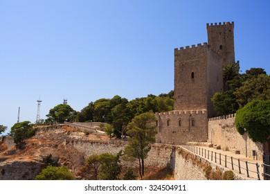 View of the Norman castle called Torri del Balio, Erice