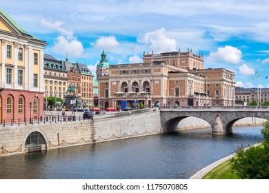 View of North Bridge, Gustav Adolfs square and Royal Opera House. Stockholm, Sweden, Scandinavia, Europe
