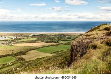 View of the North Coast from Binevenagh Mountain, County Londonderry, Northern Ireland, UK.