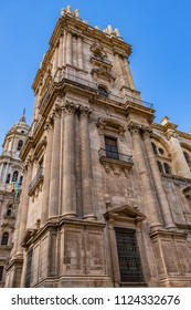 View of North facade of Cathedral of Malaga. Renaissance Cathedral - Roman Catholic Church in the city of Malaga, was constructed between 1528 and 1782. Malaga, Costa del Sol, Andalusia, Spain.