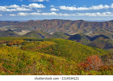 View of North Fork Mountain (background) and autumn colors in the Allegheny Highlands of east-central West Virginia