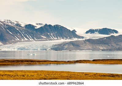 View north from Ny-Alesund in Spitsbergen, across tundra and open water to the Kongsvegen glacier.