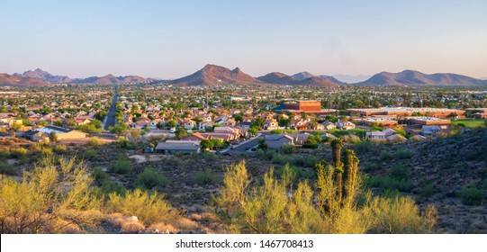 A view of North Phoenix, Arizona taken from Echo Mountain in the northern valley.