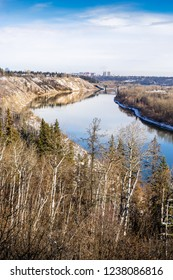 View to North Saskatchewan river valley in light snow, Edmonton, Alberta