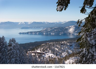 View of North Shore of Lake Tahoe in winter