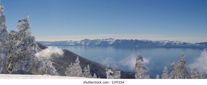 View from north shore of lake tahoe with snow laden trees in foreground