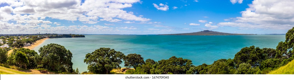 View to North Shore Landscape and Rangitoto Island from North Head Devonport, New Zealand.