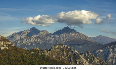 View of North and South Grigna with clouds