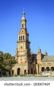 view of the North Tower at The Plaza de Espana Spain Square, Seville, Spain