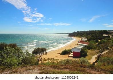 View north-east along coast at Shire Hall Beach, Mornington Peninsula, Victoria, Australia