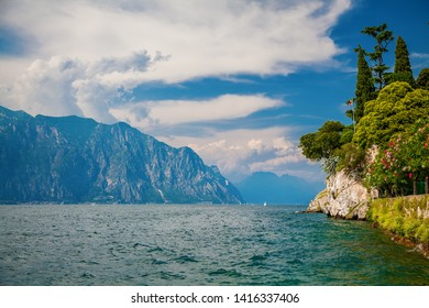 view to the northern part of the Lake Garda from Malcesine, Italy