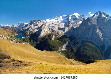 view of northern side of marmolada- top of dolomiti italy, Alps Dolomites mountains