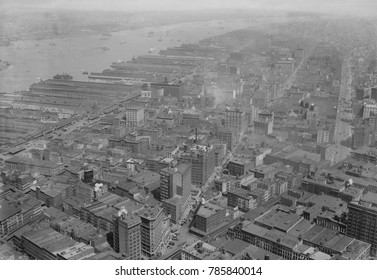View northwest from the Woolworth Building of downtown Manhattan, c. 1920. Tribeca, , was then an industrial district with warehouses and piers on the Hudson waterfront