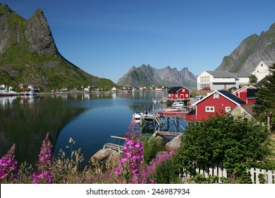 View of Norwegian fjord village