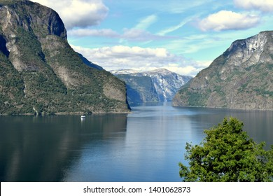 View of Norwegian Fjords in Flam from high ground on a summer and nice day