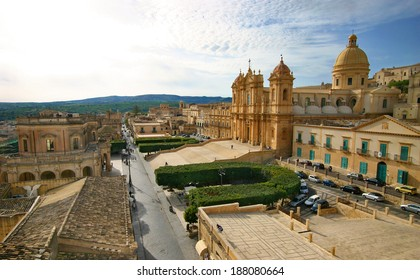 View of Noto a baroque town in Sicily, part of Unesco's world heritage list. On the right is visible the cathedral and on the left palazzo ducezio, the town's hall.