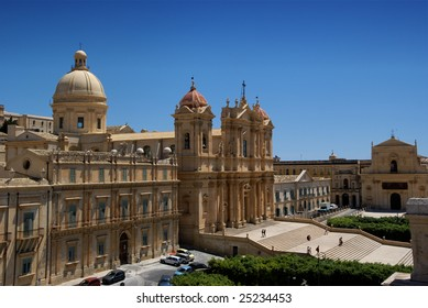View of Noto baroque town (UNESCO World Heritage), in Sicily (Italy).