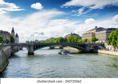 The view of the Notre Dame Bridge over the River Seine in Paris, France. Paris is one of the most popular tourist destinations in Europe.