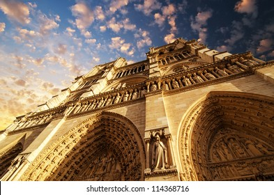 View of Notre Dame Cathedral in Winter Season, Paris