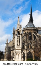 view of notre dame de paris and Fountain of the Virgin from Square Jean XXIII