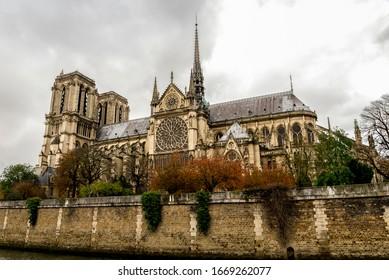 A view of Notre-Dame de Paris cathedral in autumn after rain, Paris, France