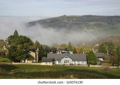 View of Nottingham Hill from Cleeve Common in the fog