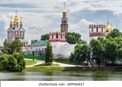 View of the Novodevichy convent in Moscow in the summer, during the restoration