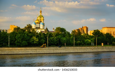 View of the Novospassky Monastery from the Moscow River in Moscow, Russia