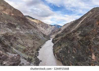 View of the Nu River (know as The Salween or, Thanlwin River) in Basu (Baxoi) County, Changdu (Qamdo), Tibet, China.