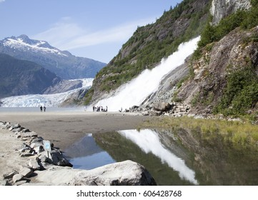 The view of Nugget Fall and Mendenhall Glacier in Mendenhall Glacier Recreation Area (Juneau, Alaska).