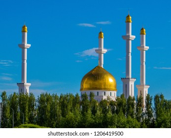 View of the Nur-Astana Mosque in Astana, Kazakhstan