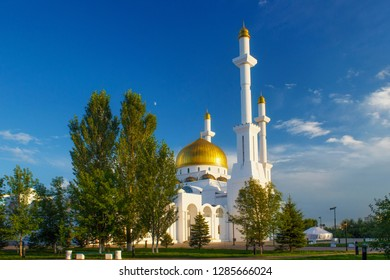 View of the Nur-Astana Mosque. Is a mosque in Astana, Kazakhstan. It is third largest mosque in Central Asia.