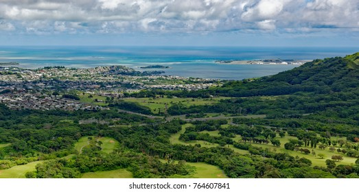 View from Nuuanu Pali Overlook of Kaneohe town and Bay on the southwest coast of Oahu, Hawaii