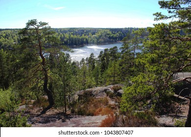 View from Nuuksio, Finland. Lake downhill.