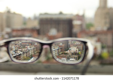 View of NYC through glasses