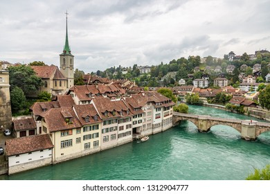 View of the Nydeggbrucke Bridge and the Protestant Church of Nydeggkirche in Bern, Switzerland
