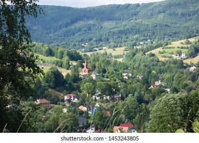 View of Nydek (with red church), village in Beskydy mountains, Czech republic, Moravian Silesian region.