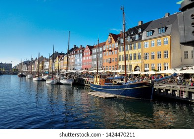 View of Nyhavn the ancient port of Copenhagen. It is located in the city center. Denmark