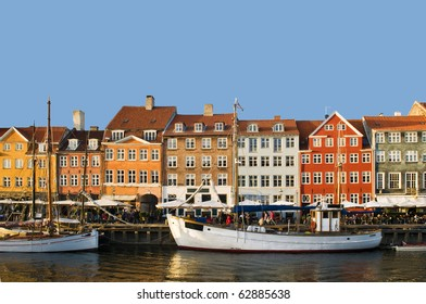 View of the Nyhavn district in Copenhage, Denmark in a sunny day