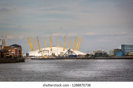 View of the O2 arena from across the river Thames in Greenwich, London, UK on 28 September 2014