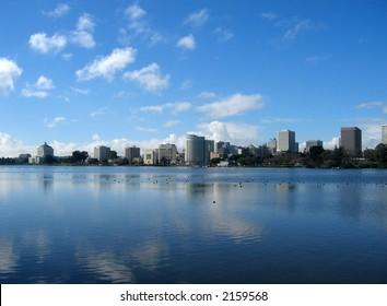 View of Oakland from Lake Merritt, California