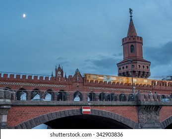 View of the Oberbaumbruecke at the sunset in Berlin - 1