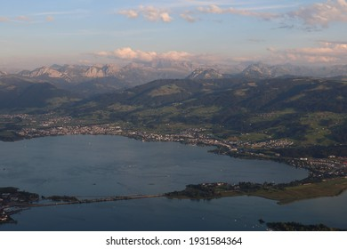 View of Obersee (Lake Zurich) and Swissalps in Summer