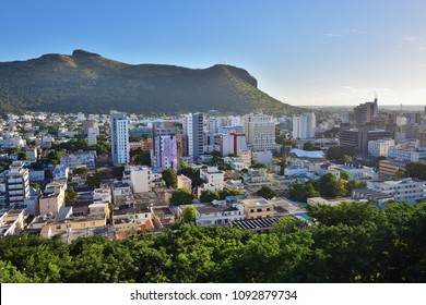 View from the observation deck in the Fort Adelaide on the Port Louis capital of Mauritius at sunset