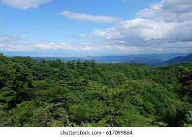 View from observation platform, Kyu Usui pass, Karuizawa, Nagano, Japan