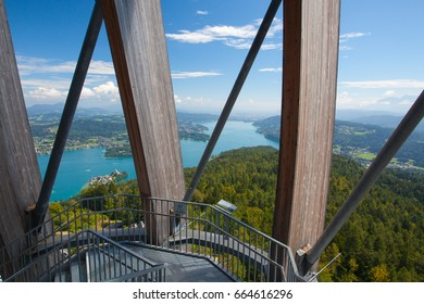 View from observation tower Pyramidenkogel To Lake Woerth,Carinthia,Austria