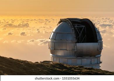 View Of Observatories From Top Of Roque De Los Muchachos, La Palma