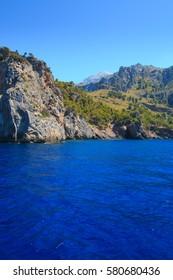 View from ocean to Sá Calobra beach  in Majorca, Spain