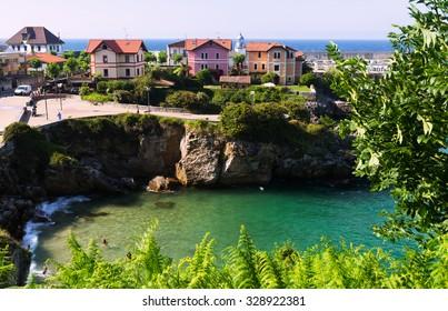 View of  ocean coast at Llanes.  Asturias, Spain