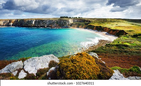 View of an ocean lagoon at Pointe de Toulinguet in Brittany, France